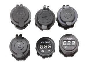 12v/24v Volt Meter/15 Amp Meter (6 Piece) Assorted Socket Panel Insert Kit - by Front Runner