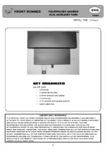 Installation instructions for FTVA001