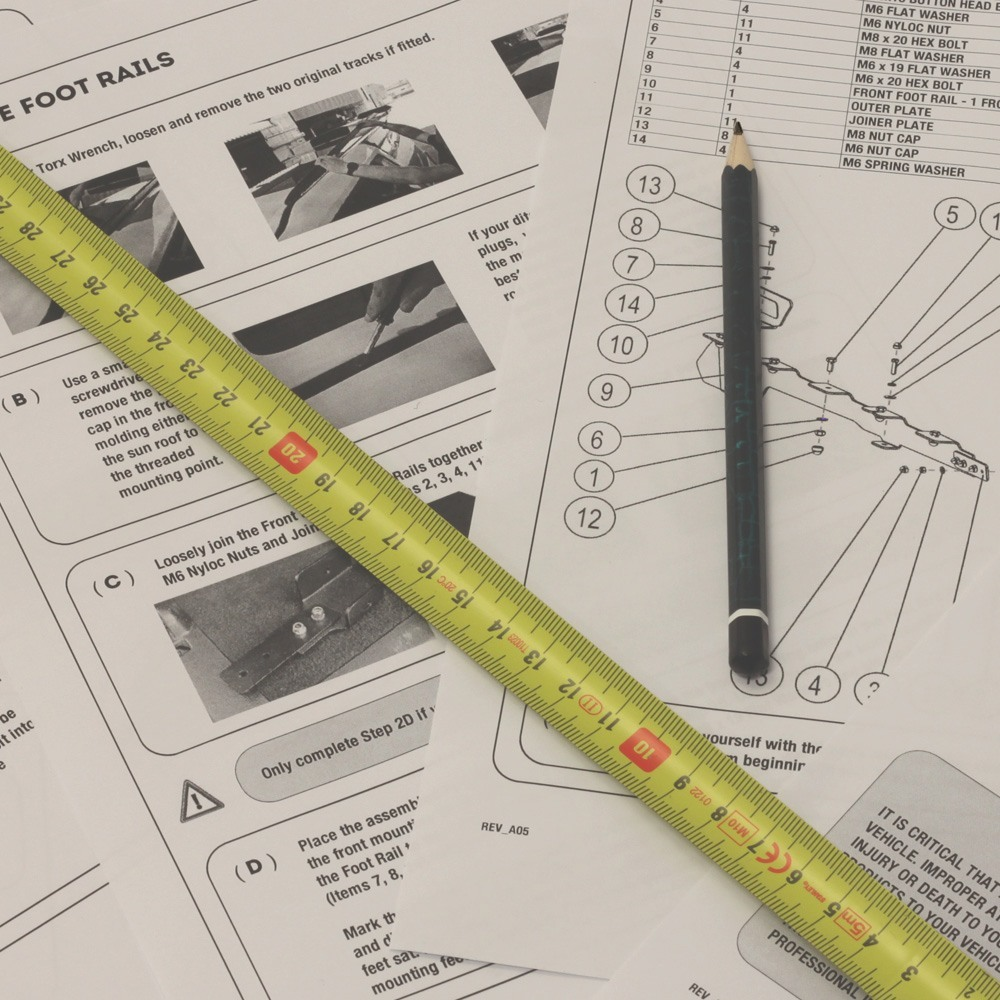 Installation Guides with measuring tape and pencil